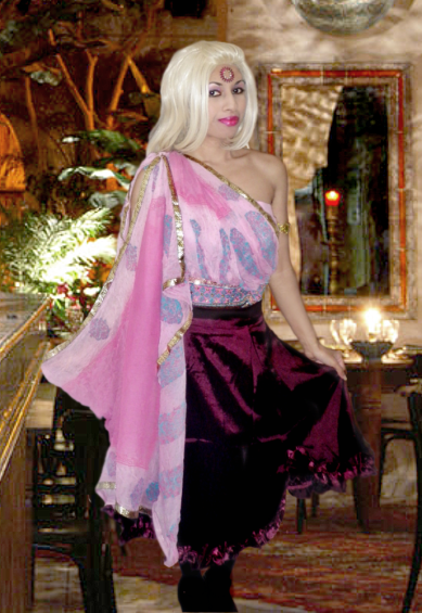 Pink Purple Gold Trim Asian Sequins Clothing Sari Skirt