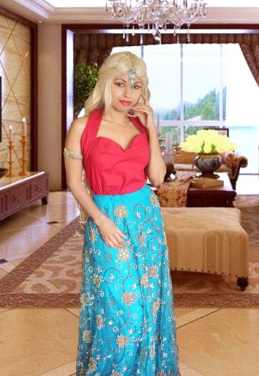 Red 50s Halter Top Blue Sequin Indian Sari Skirt