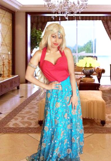 Red 50s Halter Top Blue Sequin Indian Lehenga Lengha Sari Skirt