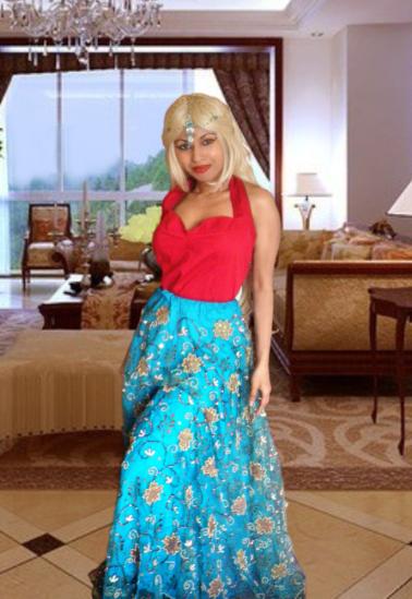 Red 50s Halter Top Blue Sequin Indian Sari Lehenga Lengha Skirt