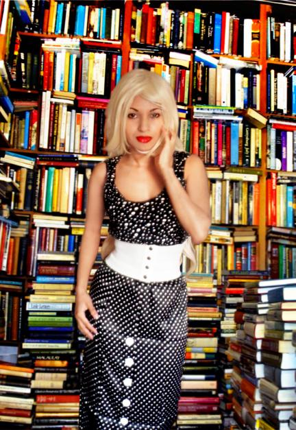 Black White Polka Dot Spot Vintage Retro Inspired Top Pinup Pencil Skirt Wide Belt