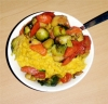 Creamy rice and sauteed veg