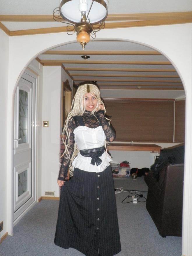 Victorian Pinafore Dress Corset Lace Up Top Ribbon Capelet Cape Coat Vintage Reproduction