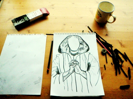 self-portrait-in-supplication-drawing