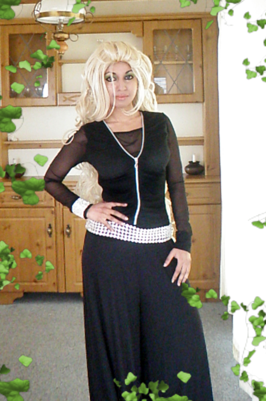 Black Mesh Zip Top Diamante Belt Cuff Wide Pants Trousers Green Nude Makeup