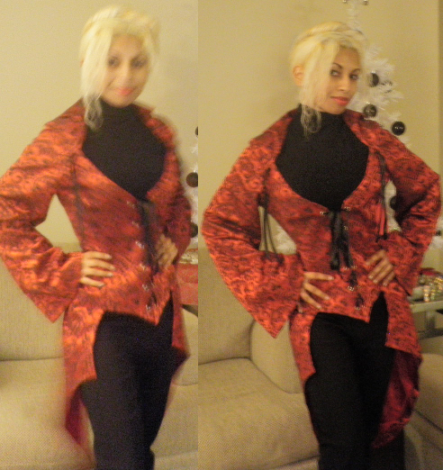 Red Valentines Day Goth Victorian Jacquard Brocade Lace Up Jacket Black Polo Turtle Neck Pants Trousers