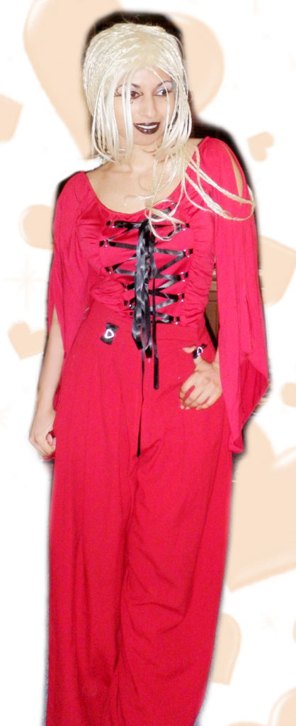 Red Valentines Day Goth Lace Up Angel Sleeve Palazzo Culottes Pants Trousers