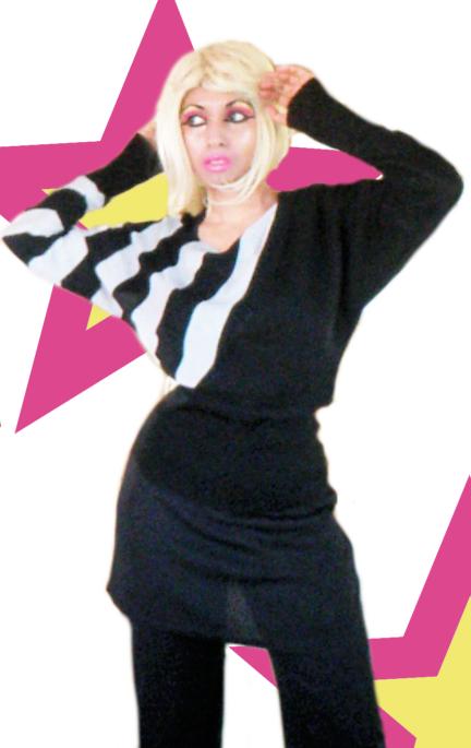 Funky Retro Quirky Black Silver Stripes Slouch Off Shoulder Sweater Jumper Trousers Pants Skirt Pink Gold Makeup Eyeshadow Cheeks Lipstick Kajal Kohl Eyeliner