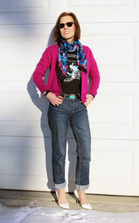 Pink Cardigan Print Scarf 3D Pattern Top Shirt Tee Turnup Jeans White Heels Stilletos