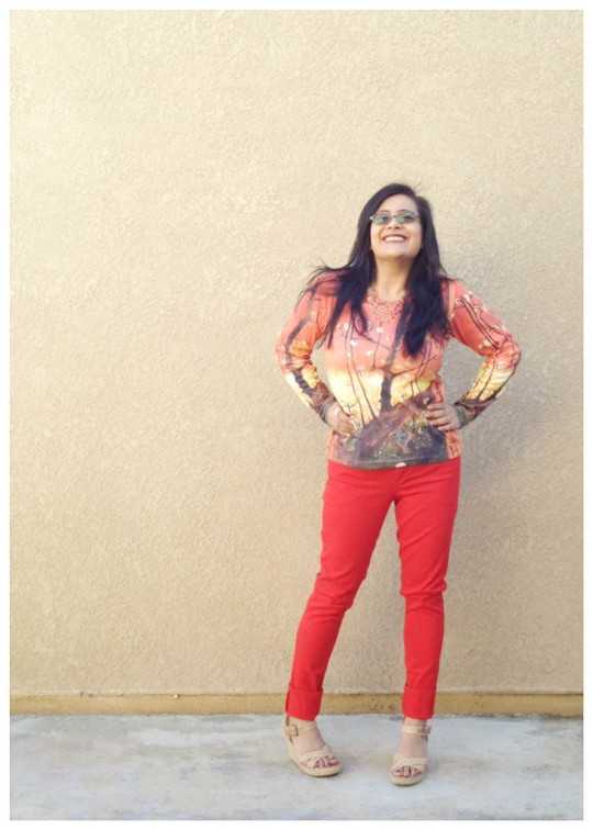Red Orange Skinny Pants Trousers, Print Long Sleeve Top, Nude Shoes Heels Wedges