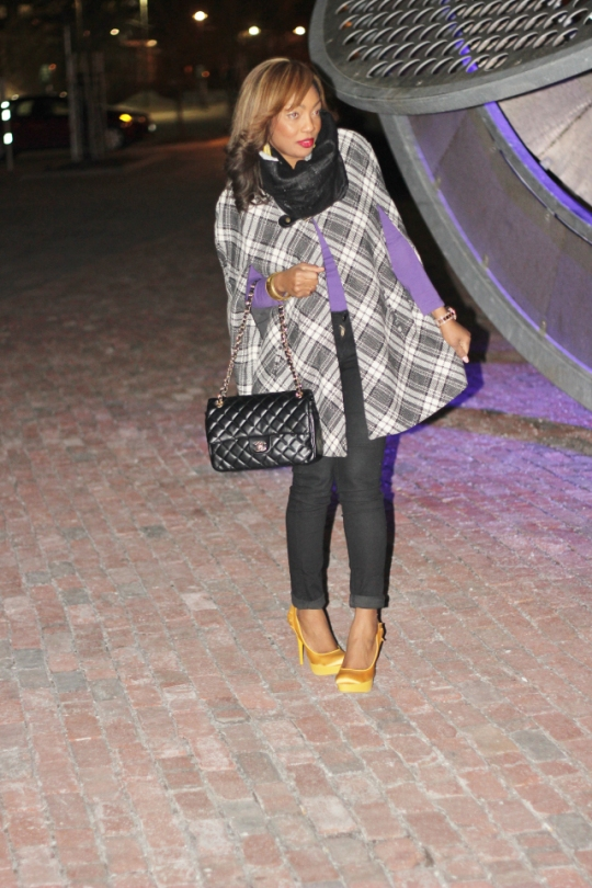 Plaid, Check, Cape, Handbag, Purple Top, Black Pants Trousers, Mustard, Gold, Shoes, Heels