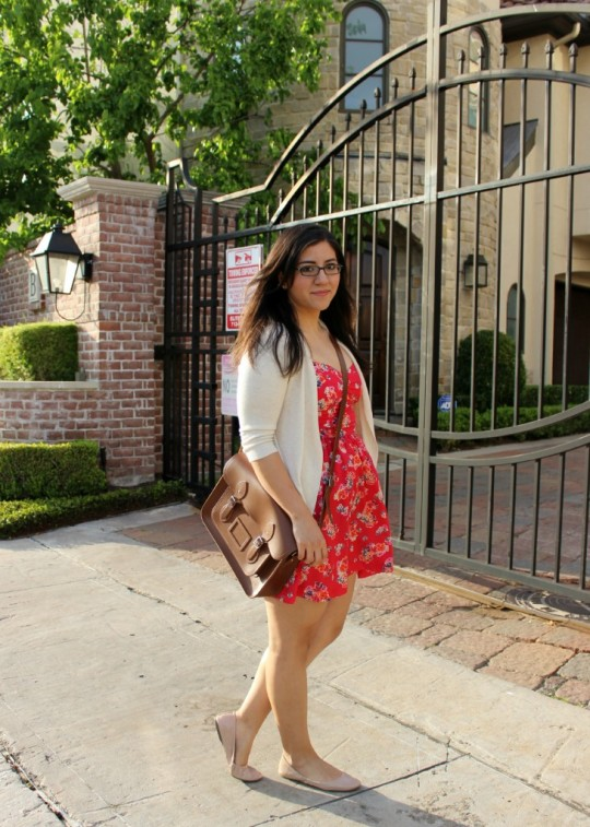 Red Floral Dress White Cardigan Satchel Nude Shoes