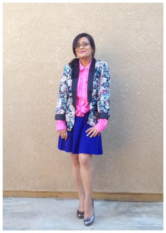 Pink Blue Schiaparelli Jacket Blazer Print Ruffle Blouse Skirt Silver Pumps