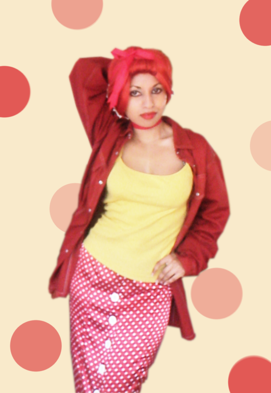 Red Yellow White Polka Dot Spot Vintage 50s 40s Inspired Pencil Skirt Vest Cami Denim Shirt