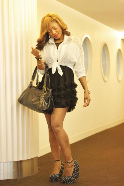Black Dress Skirt White Shirt Ruffle Frill Blouse Polka Dot Spot Shoes Wedges