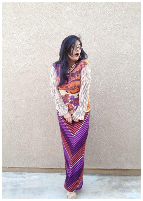 Custo Barcelona top chevron pattern skirt hippy retro