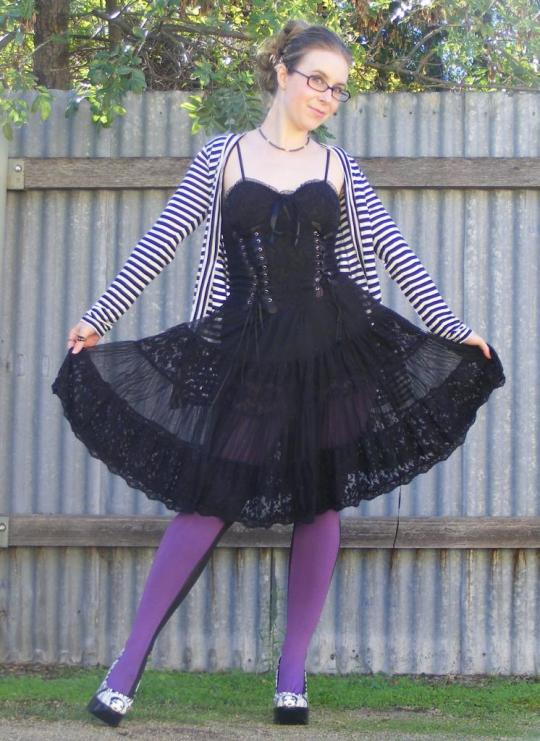 What can I say, for someone who has a feel for the alternative and born from a Goddess who does her own thing completely how can I not love this outfit!? I love that sub-style of goth that is fun and cute, not Lolita but still colourful and detailed. This outfit is also somewhat free spirited which I think suits Vanessa very well!