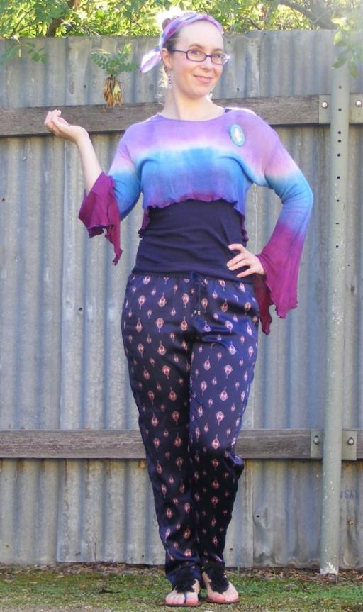 Tie-dye Hippy Print Pattern Wide Sleeve Bell Top Pants Boho