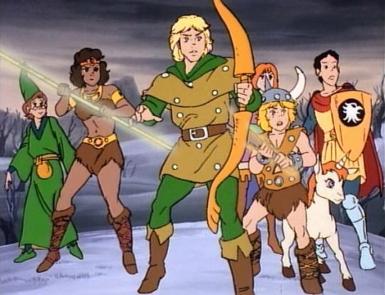 LtR: Presto the magician, Diana the acrobat, Hank the ranger, Sheila (behind) the thief, her younger brother Bobby (in front) the barbarian and his best friend Uni the infant unicorn, Eric the cavalier.