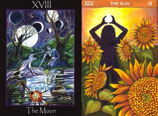 Moon Sun Tarot Card