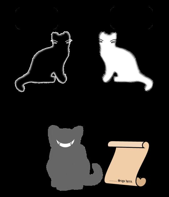Halloween artwork art black white grey cat cats contract satire joke funny humour
