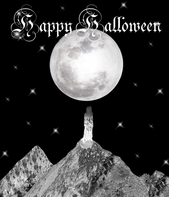 Halloween artwork art lady moon mountains stars black white