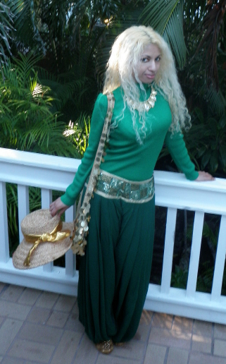 Green Gold Sequin Outfit