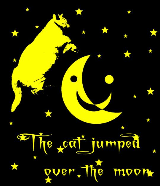 Halloween artwork art cat jumped over moon stars