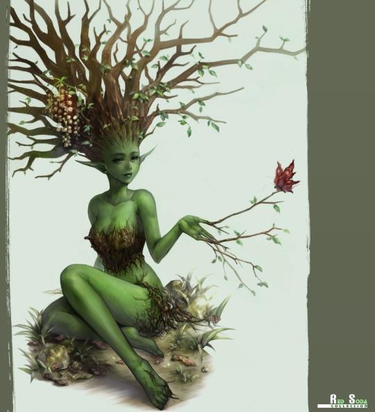 Tree Woman Girl Butterfly