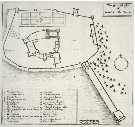Wenceslas Hollar map from 1695 Kenilworth Castle