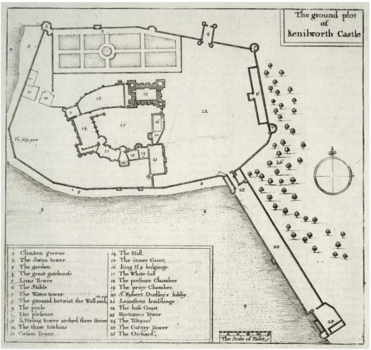 Wenceslas Hollar map from 1695 Kenilworth Castle