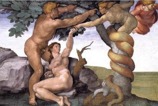 Michaelangelo's depiction. Eve (like Pandora) was tricked/used (Pandora by Zeus & cohorts) but ultimately she gifted humanity but has been downtrodden whereas Prometheus (former cohort of Zeus assisting in the overthrow of the Titans) is a hero.