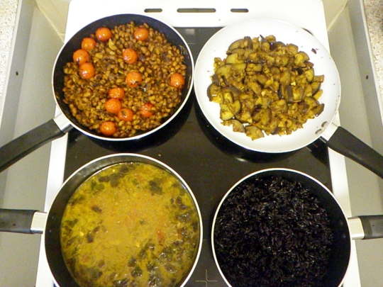 LtR: Fried Black Eyed Beans, Black Eyed Bean 'Dahl'/Lentil Version, Fried Aubergine, Black Venus Wild Rice (Sticky version)